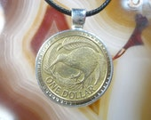 Brown Kiwi Bird Fern Leaf Tree New Zealand Wellington 1 Dollar Silver Tone 25mm Bezel Coin Pendant Handmade Jewelry Necklace