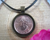 Orange branch Netherlands 5 Cents 1950-1980 Dutch Antique Bronze Tone 25mm Bezel Coin Pendant Handmade Jewelry Necklace