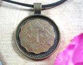 Indian Art Scallope India 1 Anna 1942-1945 King George VI Antique Bronze 25mm Bezel Coin Pendant Jewelry Necklace