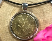 Andean Condor Bird Chile 10 Centesimos Chilean Silver Tone 30mm Bezel Coin Pendant Handmade Jewelry Necklace Chain
