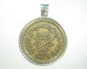 Morocco Maroc Empire Star 20 Francs 1952 AH1371 Africa Antique Silver Tone 25mm Bezel Coin Pendant Jewelry Necklace Chain