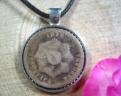 Libertad Sun Rays Sunshine Peru 150 years old 1878 2 Centavos Silver Tone 25mm Bezel Coin Pendant Handmade Necklace
