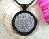 Tudor Rose Flower GB United Kingdom UK British Jewellery All Black 25mm Handmade Coin Pendant 20 quot Necklace Unisex His Hers