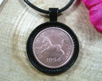 Indian Jewelry 20 Necklace All Black 25mm Handmade Coin Pendant India New Delhi Unisex His Hers Jumping Horse