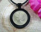 Flying Andean Condor Bird Chile Chilean Jewelry All Black 25mm Handmade Coin Pendant 20 quot Necklace Unisex His Hers