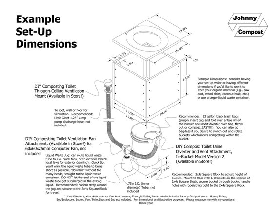 DIY Composting Toilet Urine Diverter In-Bucket Model w//out Vent Attachment