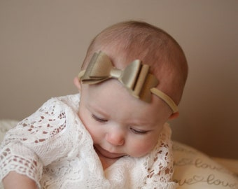 Saylor Faux Leather Gold Layered Bow