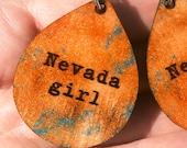 Glitter Nevada Girl Earrings- Lightweight MDF, Teardrop Earrings, Copper Patina, Sparkle Gift Idea