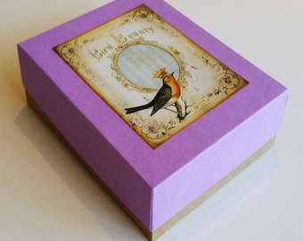 Mauve handmade boxed set of eight cards