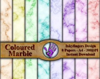Coloured Marble texture, Digital Download, 8 papers, A4 size, 300DPI, Great backgrounds for journals/cards and any other crafting projects.