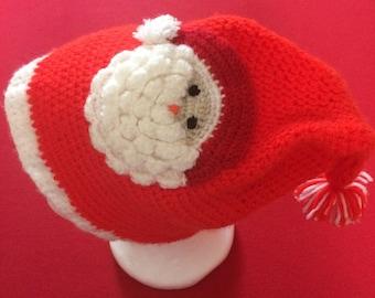 Handmade crochet Santa hat and snowman hat