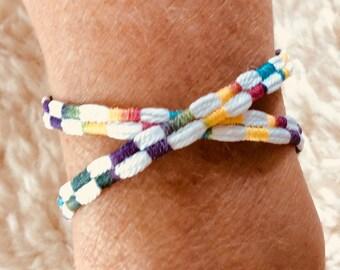 Handmade Woven White Double Wrap Bracelet