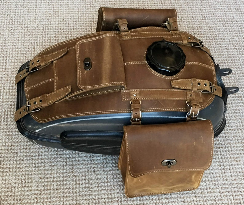 URAL fuel tank gas bags Genuine Leather 1 pocket and 2 Brown olive