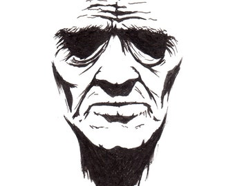 Face in shadow drawing in ink