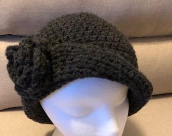 Cloche dark grey flapper women's hat