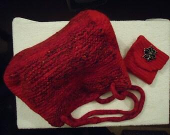 Handmade Felted Wool Handbag & Coin Purse Unique Red//black/mauoon Shoulder Bag