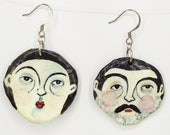 Paper mache Face Earrings, hand painted paper jewelery from Recycled Paper,