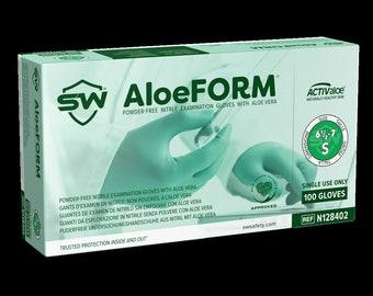 AloeForm® Nitrile ACTIValoe® Aloe Coated Powder-Free Exam Gloves, Non-Sterile, Non-Latex | Convenient Dispenser Pack of 100 Gloves.