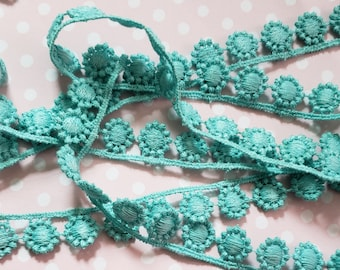 Teal crocheted lace trim