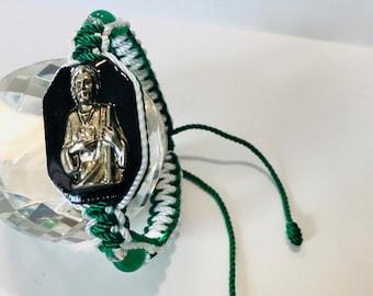 82abf0ec44ba Handmade bracelet St. Jude Thaddeus GN WT San Judas Tadeo pulsera doble  tejido hecha a mano