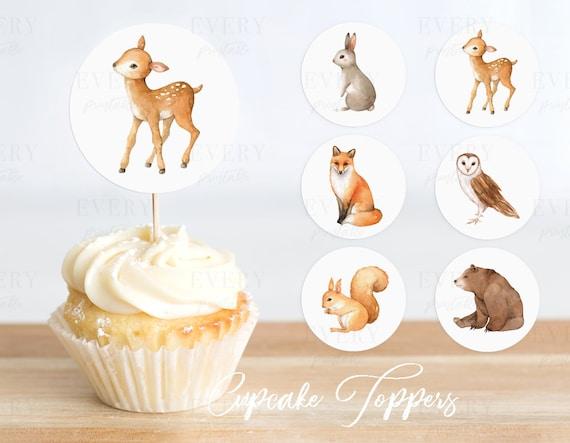 Woodland Zoo Animal Cake Cupcake Toppers Picks For Wedding Birthday Baby Shower