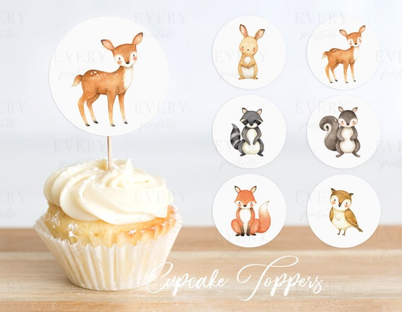 Woodland Deer Cupcake Wrappers Woodland Baby Shower Woodland Animals Woodland Nursery Woodland Animal Woodland Party Woodland Baby