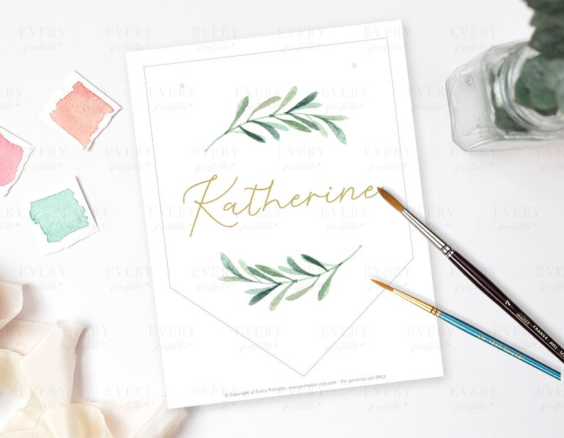 Name Wall Hanging Personalized Name Sign Green Leaf Printable Banner Kids Door Sign GL01 Wall Flag Nursery Decor Name Sign Nursery