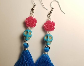 Skull and Rose Tassle Earrings