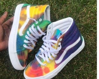 Tie dye custom Vans shoes by DoYouDreamOutLoud on Etsy