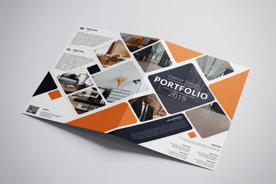 image about Printable Portfolio Template named Printable Inner Style Brochure Template Bifold Inside Designer Portfolio Template Instantaneous Down load - V06