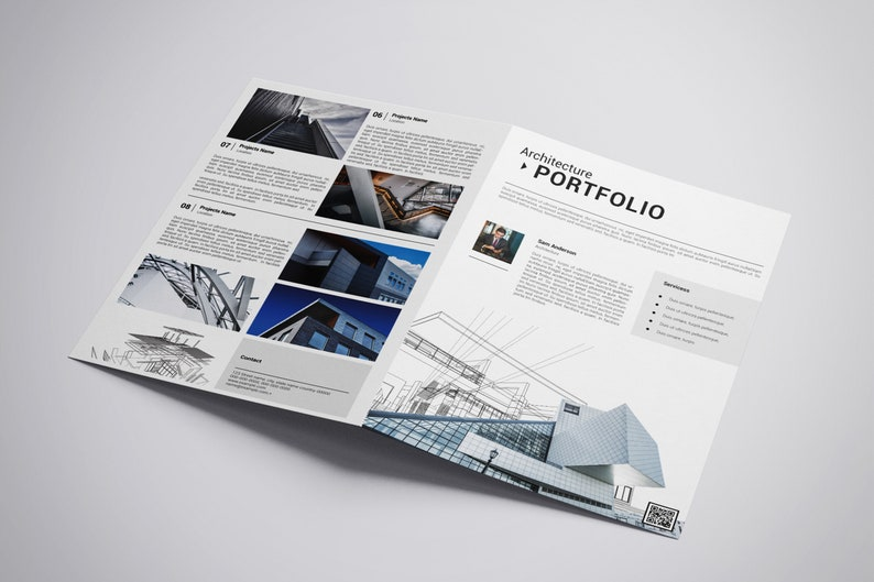 photograph about Printable Portfolio called Printable Atchitectural Portfolio Brochure Template Architecture Brochure  Instantaneous Obtain - V03