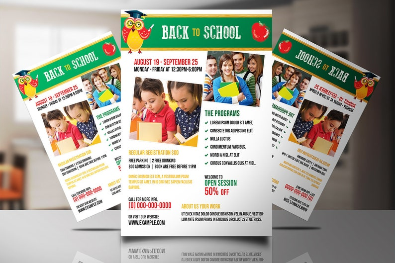 Back to School Flyer Template | School Admission Flyer | Photoshop and  Elements Template | Instant download V01