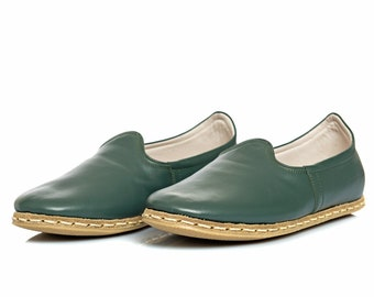 43d5928f1a12 Handmade Bottle Green Leather Turkish Yemeni Flat Women Shoes Slip Ons  Loafers Mothers Day Gift Summer Shoes Travel Shoes Labor Day Sale