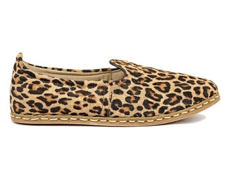 57d555e40d38e Handmade Leopard Print Leather Turkish Yemeni Flat Men Shoes Slip Ons  Loafers Travel Shoes Labor Day Sales