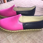Custom Handmade Leather Turkish Yemeni Flat Women Shoes with Two Colors Slip Ons Loafers Travel Shoes Summer Shoes Labor Day Sales