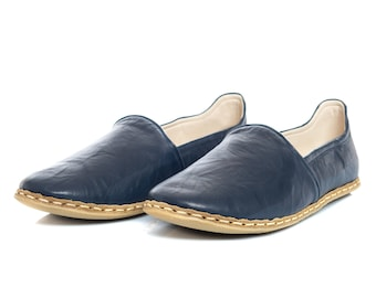 42693a3acddb Handmade Dark Blue Leather Turkish Yemeni Flat Men Shoes Slip Ons Loafers  Fathers Day Gift Summer Shoes Travel Shoes Labor Day Sales