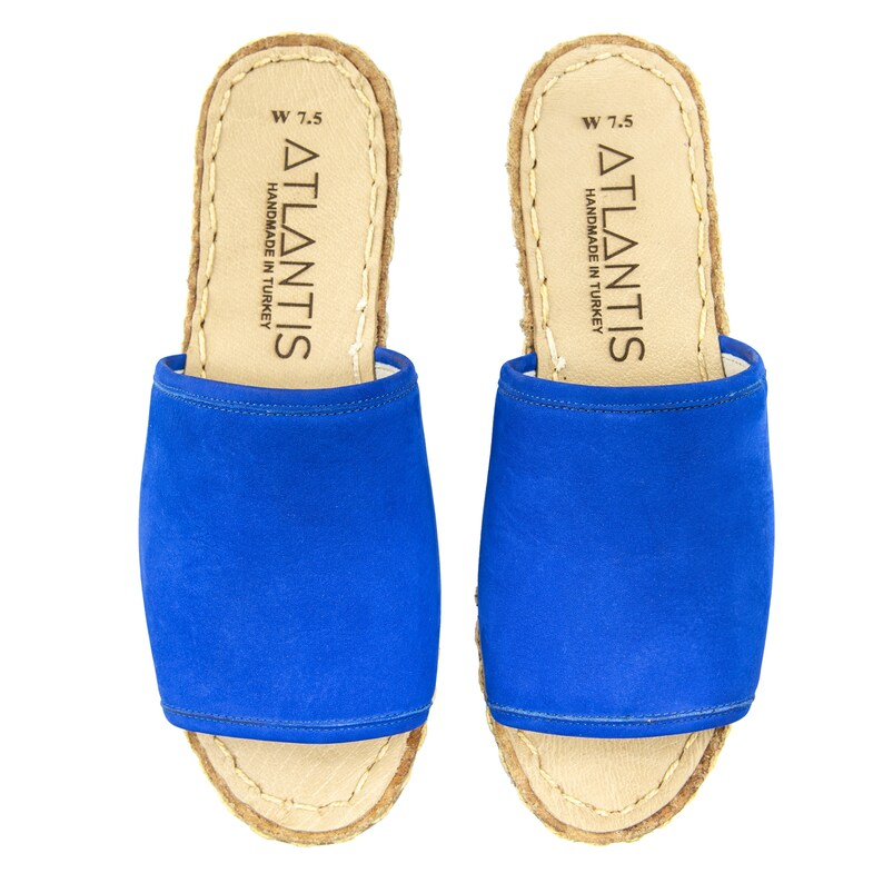 Handmade Leather Turkish Blue Suede Sandals Flats Women Slippers Flip-flops Sabots Travel Shoes Summer Shoes Cyber Monday Christmas Gift