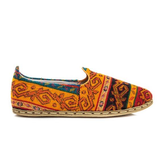 Handmade Purple Kilim Shoes Turkish Flat Women Shoes Slip Ons Travel Shoes Summer Shoes Cyber Monday Christmas Gift