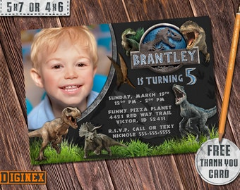Jurassic World Invitation Dinosaur Birthday Invite Party Dino Printable Park