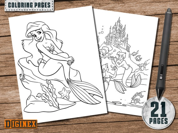 The Little Mermaid coloring pages, Disney Ariel coloring pages, Princess  Ariel birthday party games, The Little Mermaid, Princess Ariel
