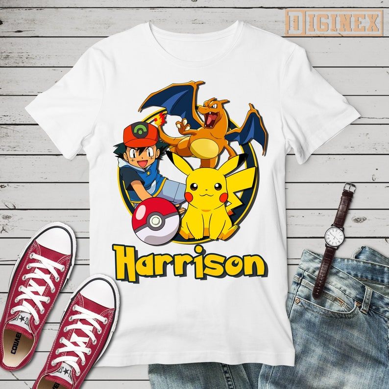 NEW Detective Pikachu Personalized Birthday Party Favor Gift T-Shirt