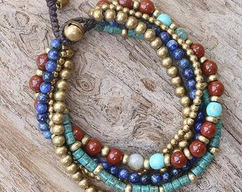"""Thailand Multicolor """"Beads and Bells"""" Beaded Bracelet"""