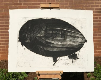 The Blimp - Hand Printed Etching Print