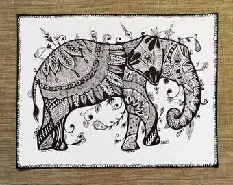 Elephant / ORIGINAL PAINTING / modern art / graphicks / black and white