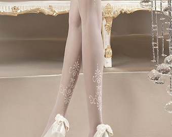 White patterneted tights Weddings tights