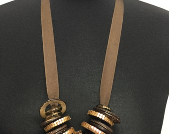 Wood bead necklace Necklace vintage jewelery  Stylish necklace Boho necklace Long necklace Hippie necklace