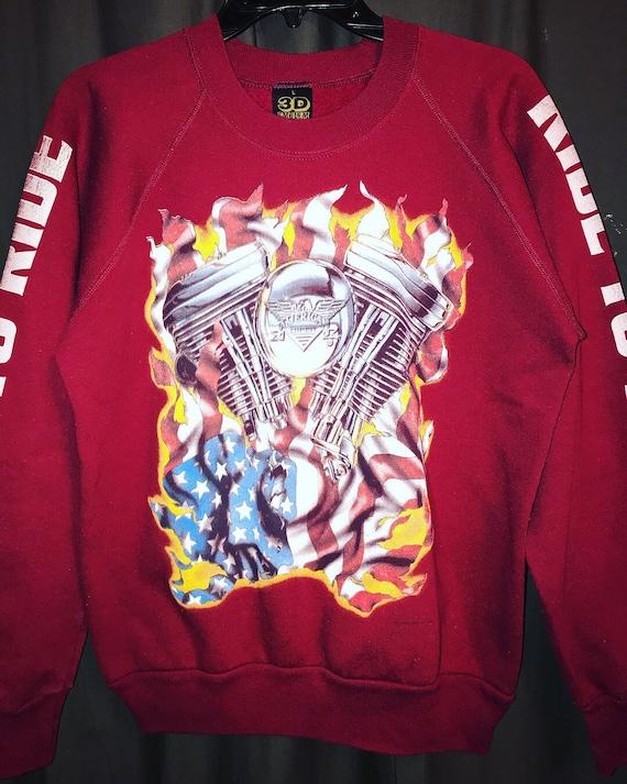 Vtg 3D Emblem Harley Davidson Sweatshirt