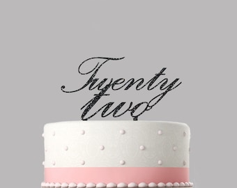 Twenty Two 22nd Birthday Cake Topper 130mm Glitter Decoration Various Colours Available Incl Black And More 121