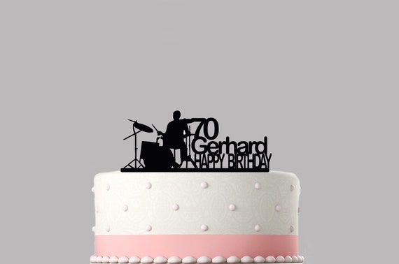 Drummer Drum Kit Personalised Cake Topper Acrylic NAME Happy