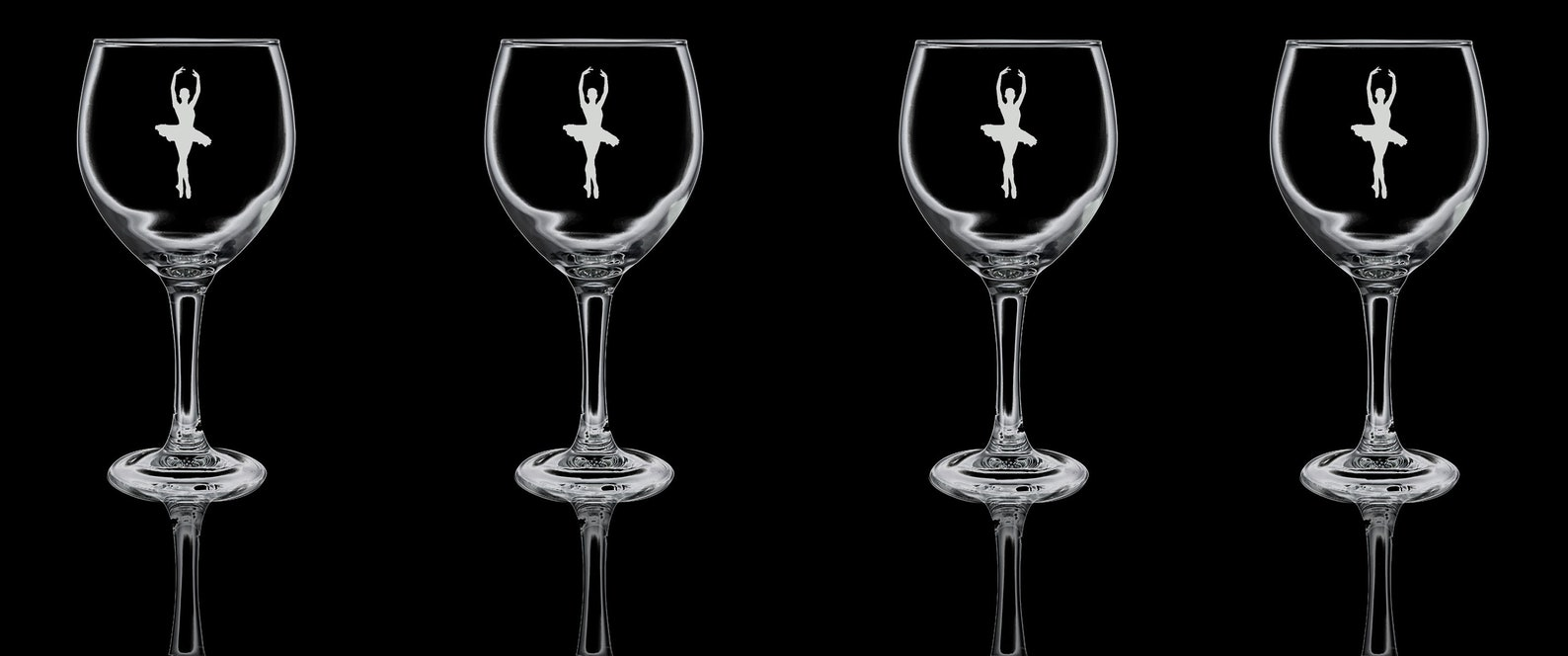 ballet dancer ballerina gin glass balloon gin glass- gift for him, gift for her - hand etched glass.04